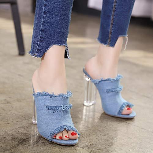 Moda Zapatillas Tacón Deporte Mocasines Alto Mujer Exterior Abierta Zapatos Mujeres Fiesta Pingxiannv De Para Blue Mezclilla Punta Verano dIqwd6