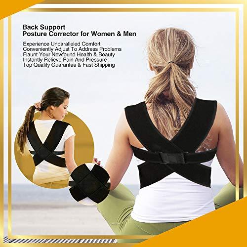 Large Premium Posture Support - Unisex Posture Corrector For Women & Men - Chest, Shoulder & Lower Back Support Improve Bad Posture, Better Relief Via Natural, Adjustable Comfortable Straps