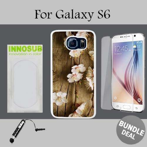 702 Blossom (Cherry Blossom Wood Custom Galaxy S6 Cases-White-Plastic,Bundle 3in1 Comes with HD Tempered Glass/Universal Stylus Pen by innosub)