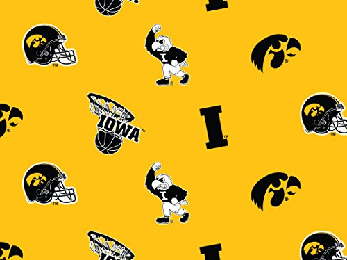 Hawkeyes Fabric Iowa (University of Iowa Hawkeyes Football Licensed Allover Cotton Fabric Sold by The Yard)