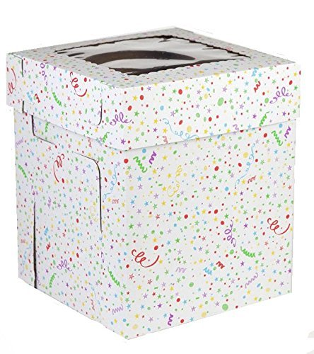 CakeSupplyShop 10inch X 10inch X 12inch Tall Tiered Double Layer Cake Carry Transport Box with Butterfly Cake Topper - 2 count