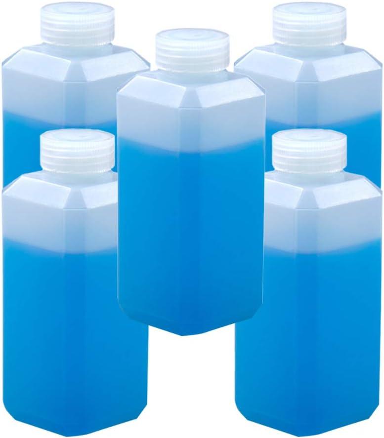 Milisten Botella de Almacenamiento Rectangular de Boca Ancha Botella Cuadrada de Plástico Dispensador de Soluciones de Limpieza para Viajes de Baño Uso Doméstico 500 Ml 5 Piezas