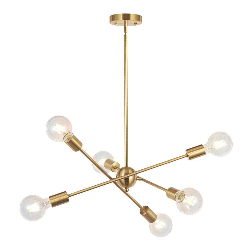 6-Head Adjutable Ceiling Light Fixture, SUN RUN Industrial Brushed Brass Chandeliers Modern Metal Pendant Lamp for Dining Room Kitchen, Golden