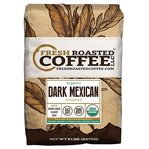 Fresh Roasted Coffee LLC, Dark Mexican Chiapas Coffee, USDA Organic, Dark Roast, Whole Bean, 5 Pound Bag (Fresh Roasted Coffee Llc Organic)