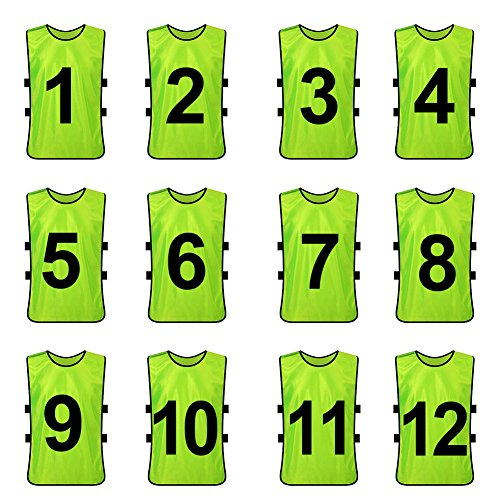 TOPTIE Sets of 12 (#1-12, 13-24) Numbered/Blank Training Vest, Soccer Pinnies-Green (#1 to 12)-Adult ()