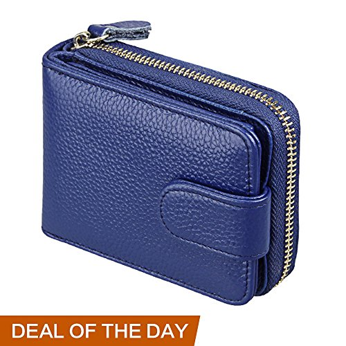 RFID Blocking Credit Card Holder-Welegant Mini Card Holder Organizer Case Genuine Leather Zip Compact Accordion Wallet with ID Window for Business Cards Credit Cards Driver License (Window, Navy)