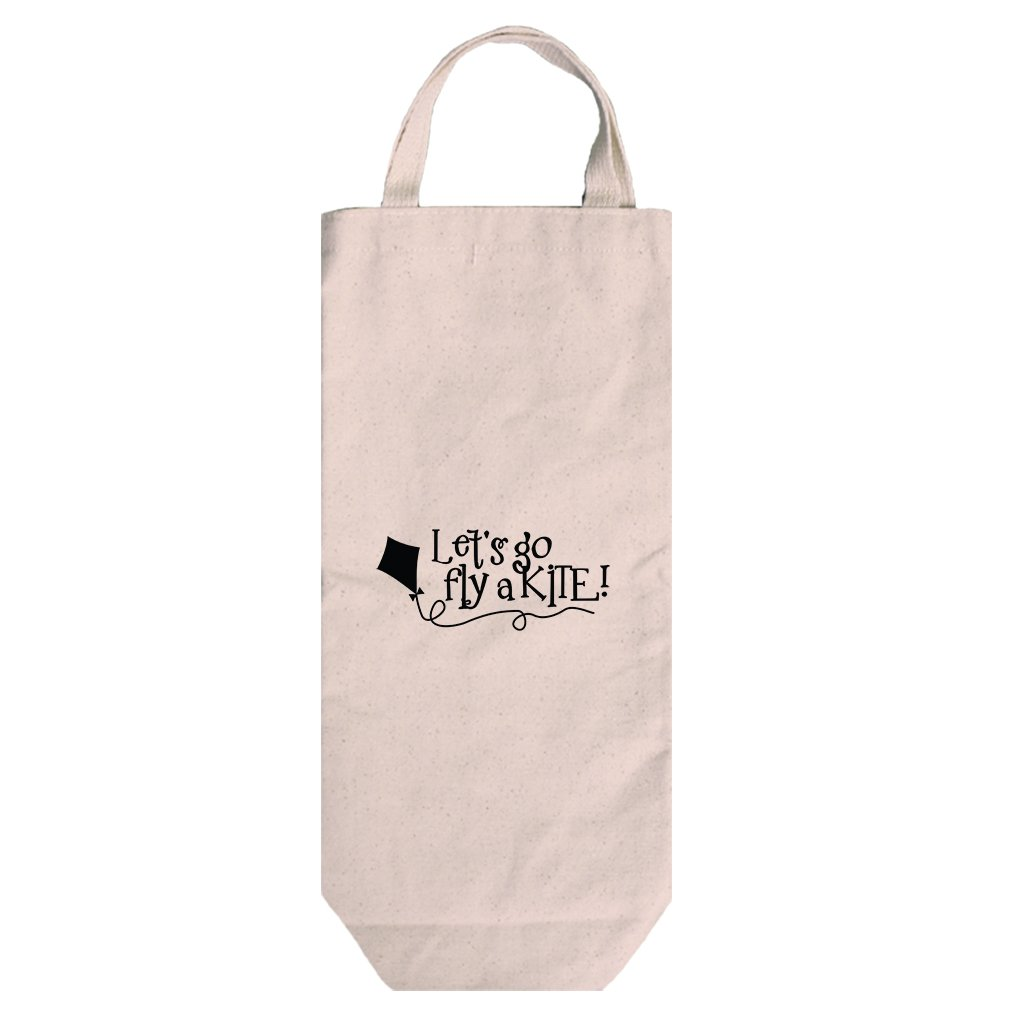 Canvas Wine Bag Tote With Handles Let'S Go Fly A Kite Style In Print