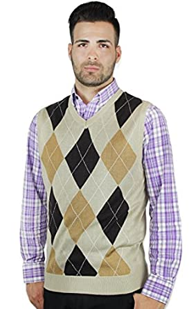 Men's Vintage Vests, Sweater Vests Blue Ocean Argyle Sweater Vest $30.50 AT vintagedancer.com