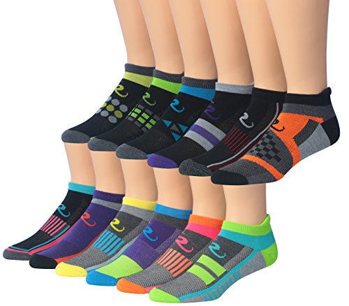 Ronnox Men's 12-Pairs Low Cut Running & Athletic Performance Socks, RLT02-AB, Medium/Large
