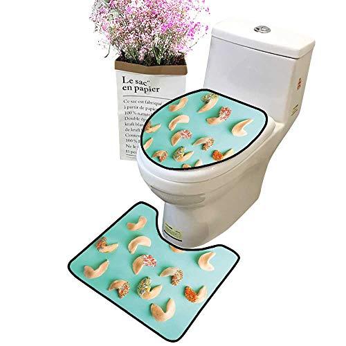 (2 Piece Bathroom Rug Set Fortune Cookies on Color backgroun Non Slip Soft Bath Shower Toilet lid Combo)