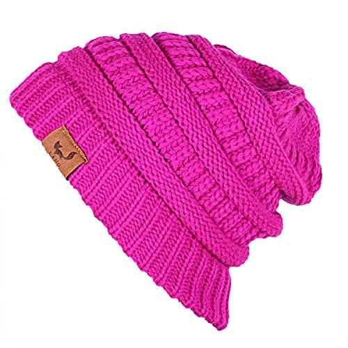 Laho Unisex Trendy Warm Chunky Soft Stretch Cable Knit Hat Slouchy Skully Beanie Cap