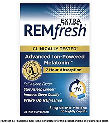 REMfresh Extra Strength 5mg Melatonin Sleep Aid Supplement (36 Caplet) | Drug-Free, Sleeping Pills to Support Restful, Natural Sleep | #1 Doctor Recommended | Pharmaceutical-Grade, Ultrapure Melatonin