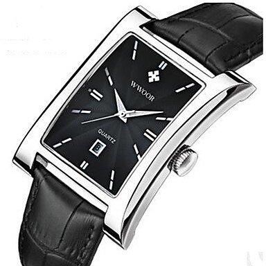 Herrklockor, WWOOR herrklänningsklocka modeklocka armbandsur kvarts kalender läderband vardag cool svart brun guld svart/silver vit/brun svart / silver
