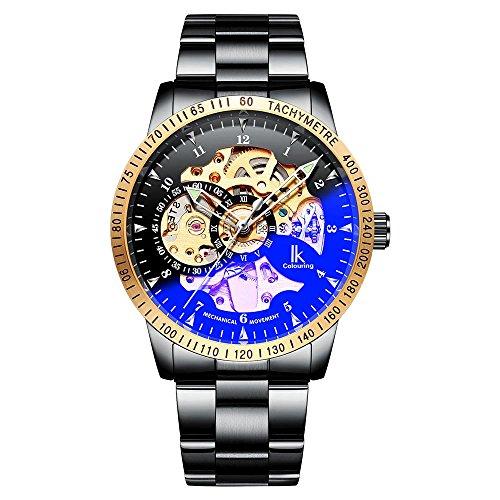 Gute IK Mens Automatic Mechanical Wristwatch, Black Steel Skeleton Coated Glass Casual Waterproof Watch - Gold Black