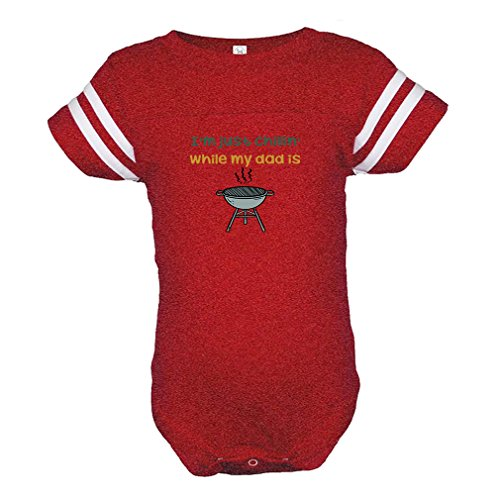Just Chillin Girl (Cute Rascals I'm Just Chillin While My Dad Is Grilling Combed Ring-Spun Cotton tapped Neck Unisex Baby Sports Bodysuit Football Jersey - Red, 18 Months)