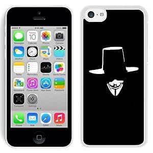 NEW Unique Custom Designed iPhone 5C Phone Case With V For Vendetta Hat Face Illustration_White Phone Case wangjiang maoyi