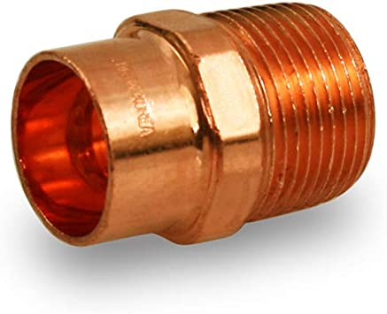 "1/"" x 1//2/"" CxM Copper Male Adapter Sweat x MIP Thread Plumbing Reducer Fitting"