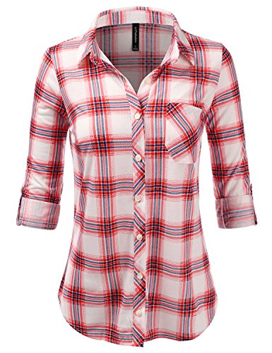 JJ Perfection Womens Long Sleeve Collared Button Down Plaid