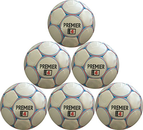 Soccer Ball Premier Size 4 (Red, White, and Blue) Six Pack by Best Soccer Buys