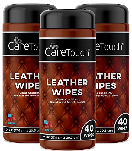 Care Touch Leather Wipes | Cleans, Conditions, and Protects Leather Goods | Pack of 3 | 120 Wipes