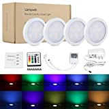 LED Under Cabinet Lighting - 4Pack Lampwin 2017 New Dimmable RGB Kitchen Under Cabinet Puck Light Fixture Kit for Chirstmas Xmas Decorating Kitchen Wardrobe Counter Furniture Closet Mood Lighting