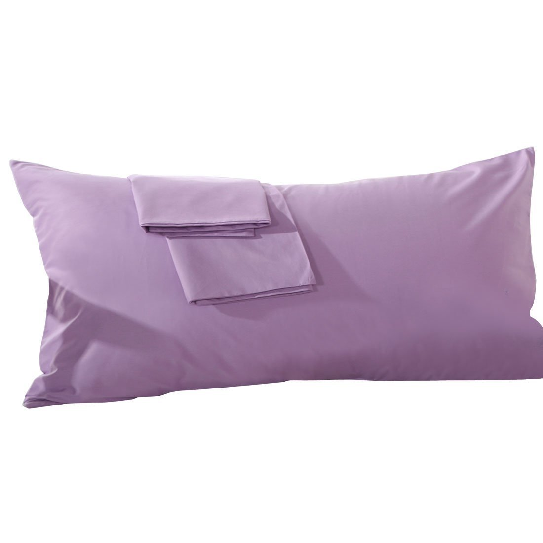 800 Thread Count 2 Piece Bodypillow Cases Solid 100% Egyptian Cotton (20-by-54 Inch, Lilac).