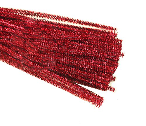 Rimobul Glitter Creative Arts Chenille Stem Class Pack,6 mm x 12 Inch, Pack of 100 (Red)