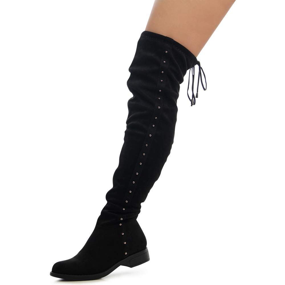 Damenschuhe Plateau Overknee Stiefel Velours Verstellbar Nieten Boots Stretch