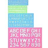 4 Pieces Letter Stencil Alphabet Stencils Number Craft Ruler Decorative Plastic Letter Stencils Guides Set, Assorted Colors