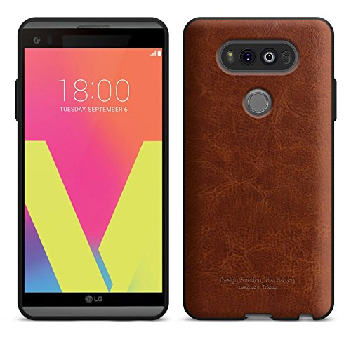 LG V20 Case [Tridea] Power Guard Premium Synthetic Leather Bumper [Shock Resistant][Scratch-Resistant] with Hidden Card Storage Case for LG V20 (2016) [Brown]