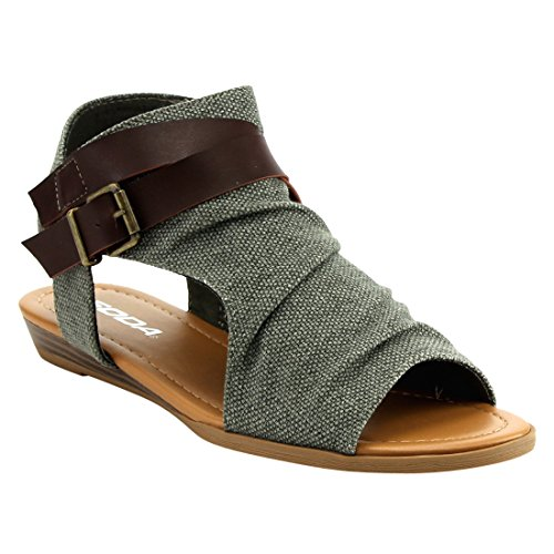 Soda IC81 Womens Side Cutout Criss Cross Strap Inside Zip Backless Wedges  ColorLIGHT OLIVE  Size6  MZYUGJHZD