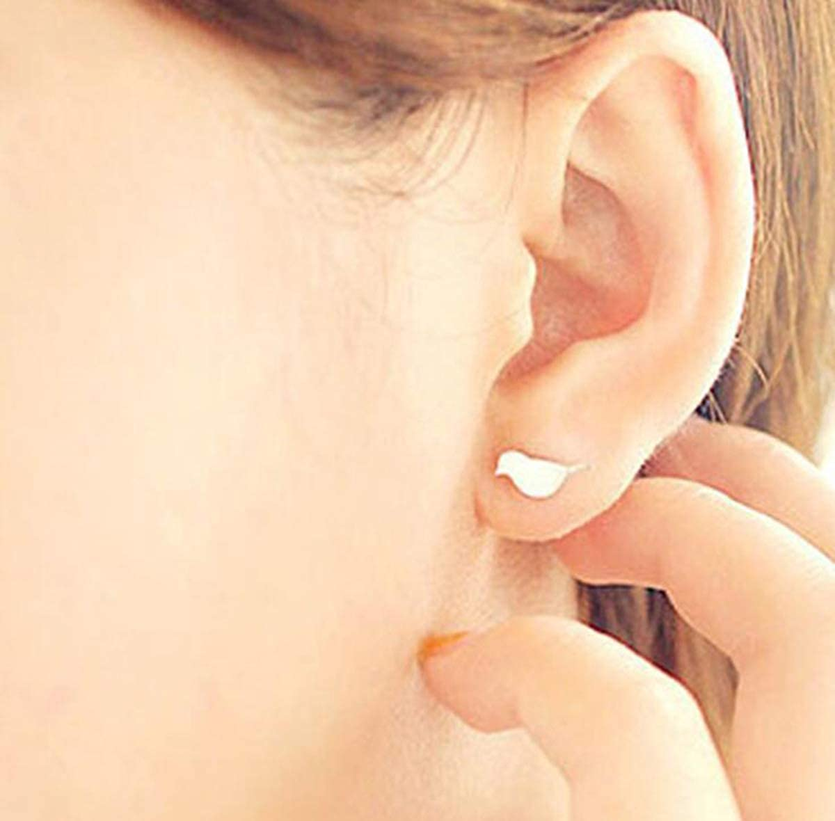 Silver Hugdong Dull Polish Bird Stud Earrings with Jewelry Box,Bird Earrings for Women