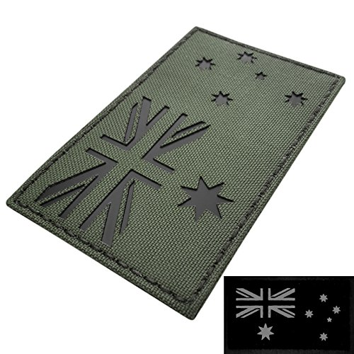 Laser Australia (Large 3x5 OD Green Olive Drab Infrared IR Australia Flag Laser IFF Tactical Morale Touch Fastener Patch)