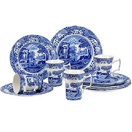 Amazon.com | Spode Blue Italian 12 Piece Set: Dinnerware Sets ...