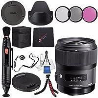Sigma 35mm f/1.4 DG HSM Art Lens for Nikon DSLR Cameras #340306 + 67mm 3 Piece Filter Kit + Lens Pen Cleaner + Microfiber Cleaning Cloth + Flexible Tripod Bundle (International Model No Warranty)