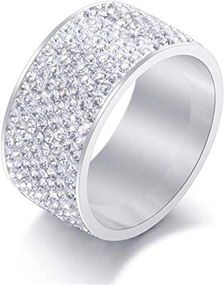 BLINGMC 12MM Wide 8 Row Clear Crystal Ring Men Women Stainless Steel Iced Out Rings
