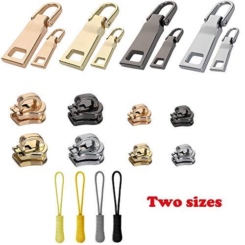 16 Pieces Zipper Replacement Universal Zipper Repair Parts to Fit Any Zipper(4 Color) - Pull Zipper Gold