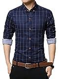 XTAPAN Men Slim Fit Plaid Flannel Fashion Dress Shirt Long Sleeve Navy Blue 2XL