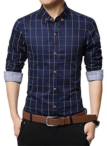 XTAPAN Men Slim Fit Plaid Flannel Fashion Dress Shirt Long Sleeve Navy Blue 4XL ()