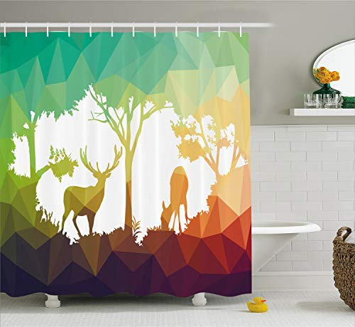 Ambesonne Wildlife Decor Shower Curtain, Fractal Deer Family Geometric Cut Shapes Hunt Adventure Themed Desert Eco Graphic, Fabric Bathroom Decor Set with Hooks, 70 Inches, Teal Orange - Hunt Shower Curtain Hooks