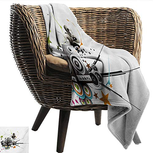 (Davishouse Modern Blanket Sheets Music Set Instruments Headphones Stars and Lines Energetic Image Print Cozy for Couch Sofa Bed Beach Travel 70