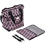 Stylish Designer Baby Diaper Bag, Stroller Straps and Change Pad, Pink / Purple.