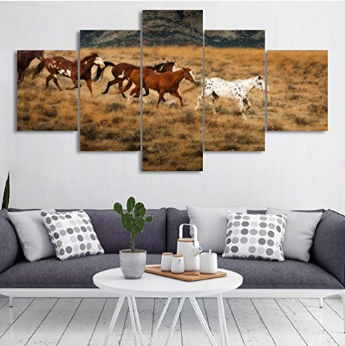 5 Panel Large Pictures On Canvas Wall Art Prints Running Horse Artwork Landscape Painting Modern Office Home Living Room Decoration Christmas Gift Stretched and Framed 60''W x (Horse Large Framed Print)
