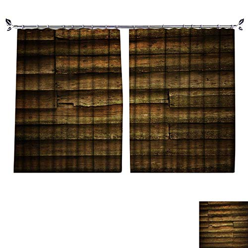 Auraisehome Non-humidifying and Breathable Style Vintage Teak Wood Wall for Background for Elegant Floor-Down Window Decoration W63 x L63