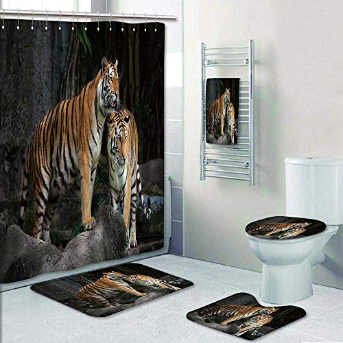 Philip-home 5 Piece Banded Shower Curtain Set Animal Tiger Couple in The Jungle on BigRocks Image Wild Cats in Nature Grey and Ginger Decorate The Bath by Philip-home