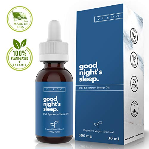 Hemp Oil for Sleep Aid, 500mg Full Spectrum Extract Drops, Organic, Natural, Anti Inflammatory Supplement, Calming, Relieve Tension, Improves Health and Provides Stress Relief for A Restful Sleep