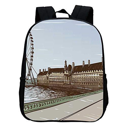 (London Durable Kindergarten Shoulder Bag,Buckingham Palace Historical Building Thames River Ferris Wheel Pencil Drawing Art Decorative For school,11.8