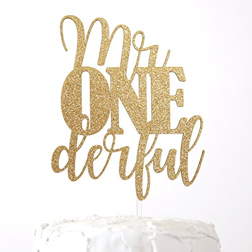NANASUKO 1st Birthday Cake Topper - mr Onederful - Double Sided Gold Glitter - Premium Quality Made in USA