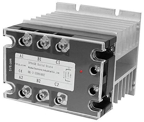 Electrodepot 40 Amp 3 Pole Normally Open IEC 480V Solid State Contactor, Ultra Quiet Operation - 90-280VAC Coil, Inductive 32A and Resistive 40A