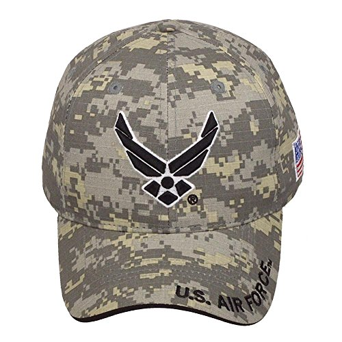 Air Force Cap (Official Licensed US Air Force with US Flag Adjustable Velcro Back Cotton Cap Hat - Digital Camo)
